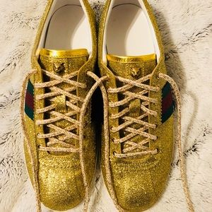 4d4cb968f Gucci Shoes | Bambi Gold Web Lowtop Sneaker With Studs | Poshmark